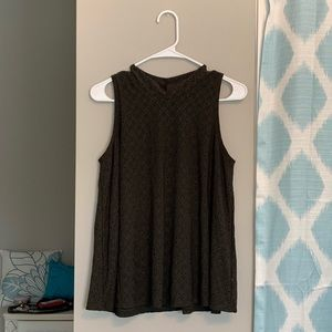 Army green mock neck eyelet lace flowy top!